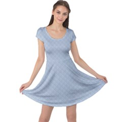 Powder Blue Stitched and Quilted Pattern Cap Sleeve Dresses