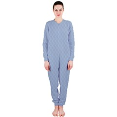 Powder Blue Stitched and Quilted Pattern OnePiece Jumpsuit (Ladies)