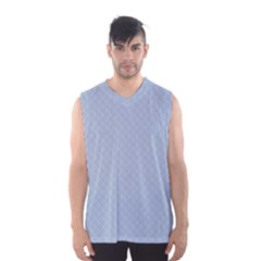 Powder Blue Stitched and Quilted Pattern Men s Basketball Tank Top