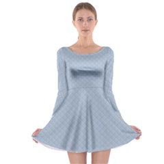 Powder Blue Stitched and Quilted Pattern Long Sleeve Skater Dress