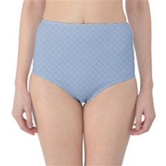 Powder Blue Stitched and Quilted Pattern High-Waist Bikini Bottoms