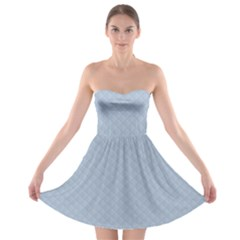Powder Blue Stitched And Quilted Pattern Strapless Bra Top Dress