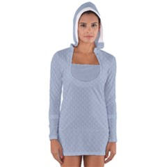 Powder Blue Stitched and Quilted Pattern Women s Long Sleeve Hooded T-shirt