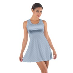 Powder Blue Stitched and Quilted Pattern Cotton Racerback Dress