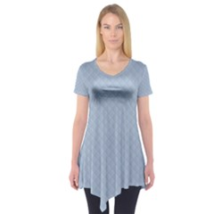 Powder Blue Stitched and Quilted Pattern Short Sleeve Tunic