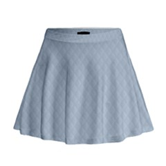 Powder Blue Stitched and Quilted Pattern Mini Flare Skirt