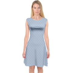 Powder Blue Stitched and Quilted Pattern Capsleeve Midi Dress