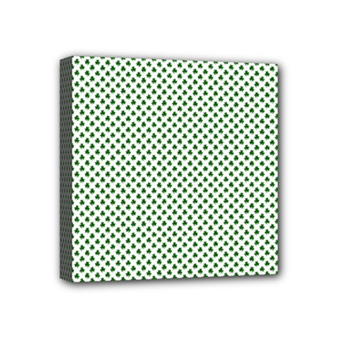 Shamrock 2-Tone Green on White St.Patrick?¯s Day Clover Mini Canvas 4  x 4
