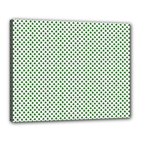 Shamrock 2-Tone Green on White St.Patrick?¯s Day Clover Canvas 20  x 16