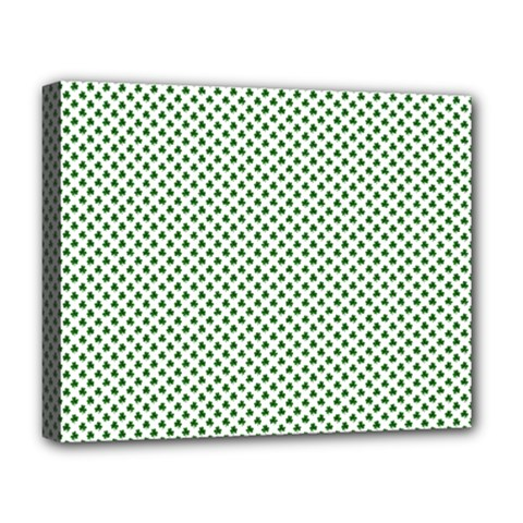 Shamrock 2-Tone Green on White St.Patrick?¯s Day Clover Deluxe Canvas 20  x 16