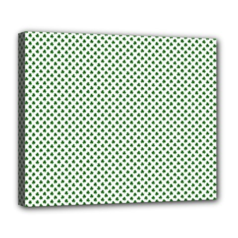Shamrock 2-Tone Green on White St.Patrick?¯s Day Clover Deluxe Canvas 24  x 20