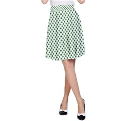 Shamrock 2-Tone Green on White St.Patrick?¯s Day Clover A-Line Skirt