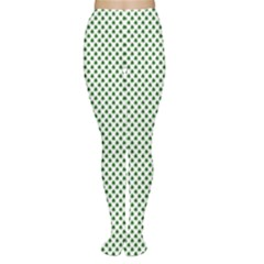 Shamrock 2-Tone Green on White St.Patrick?¯s Day Clover Women s Tights