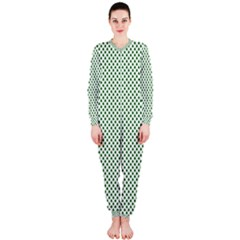 Shamrock 2-Tone Green on White St.Patrick?¯s Day Clover OnePiece Jumpsuit (Ladies)