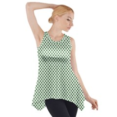 Shamrock 2-Tone Green on White St.Patrick?¯s Day Clover Side Drop Tank Tunic