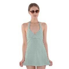 Shamrock 2-Tone Green on White St.Patrick?¯s Day Clover Halter Swimsuit Dress