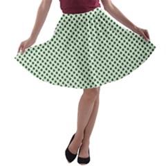 Shamrock 2-Tone Green on White St.Patrick?¯s Day Clover A-line Skater Skirt