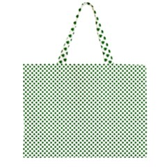 Shamrock 2-Tone Green on White St.Patrick?¯s Day Clover Large Tote Bag