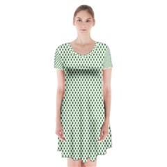 Shamrock 2-Tone Green on White St.Patrick?¯s Day Clover Short Sleeve V-neck Flare Dress