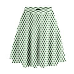 Shamrock 2-Tone Green on White St.Patrick?¯s Day Clover High Waist Skirt