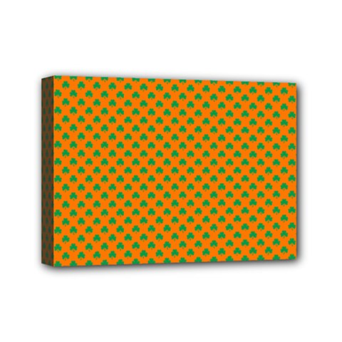 Heart-Shaped Shamrock Green on Orange St.Patrick?¯s Day Clover Mini Canvas 7  x 5