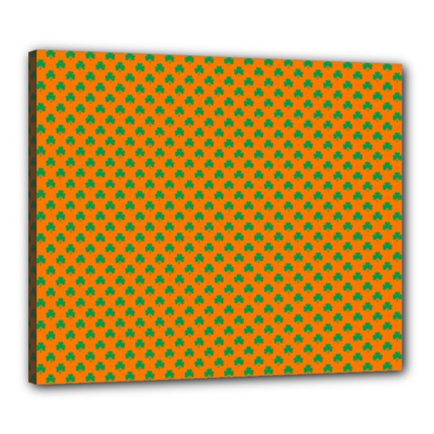 Heart-Shaped Shamrock Green on Orange St.Patrick?¯s Day Clover Canvas 24  x 20