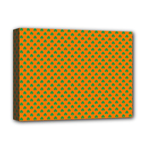 Heart-Shaped Shamrock Green on Orange St.Patrick?¯s Day Clover Deluxe Canvas 16  x 12