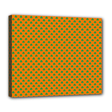 Heart-Shaped Shamrock Green on Orange St.Patrick?¯s Day Clover Deluxe Canvas 24  x 20