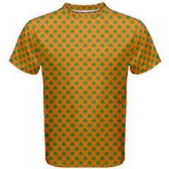 Heart-Shaped Shamrock Green on Orange St.Patrick?¯s Day Clover Men s Cotton Tee
