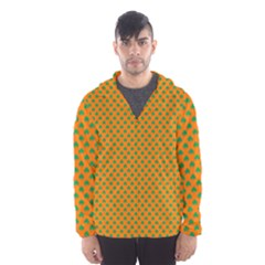 Heart-Shaped Shamrock Green on Orange St.Patrick?¯s Day Clover Hooded Wind Breaker (Men)