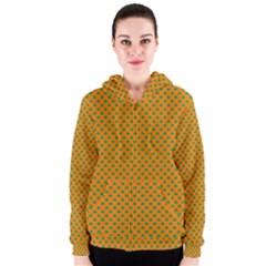 Heart-Shaped Shamrock Green on Orange St.Patrick?¯s Day Clover Women s Zipper Hoodie
