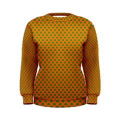 Heart-Shaped Shamrock Green on Orange St.Patrick?¯s Day Clover Women s Sweatshirt