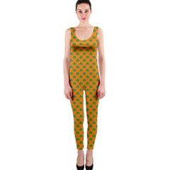 Heart-Shaped Shamrock Green on Orange St.Patrick?¯s Day Clover OnePiece Catsuit