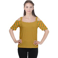 Heart-Shaped Shamrock Green on Orange St.Patrick?¯s Day Clover Women s Cutout Shoulder Tee