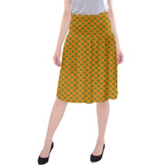 Heart-Shaped Shamrock Green on Orange St.Patrick?¯s Day Clover Midi Beach Skirt