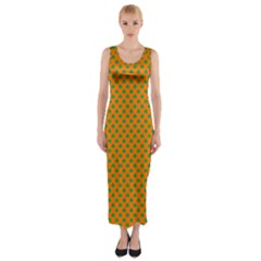 Heart-Shaped Shamrock Green on Orange St.Patrick?¯s Day Clover Fitted Maxi Dress