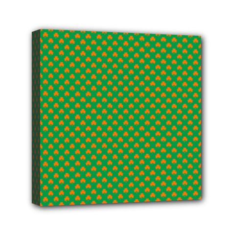 Orange Heart-Shaped Shamrocks on Irish Green St.Patrick s Day Mini Canvas 6  x 6