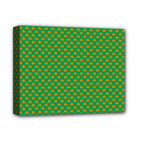 Orange Heart-Shaped Shamrocks on Irish Green St.Patrick s Day Deluxe Canvas 14  x 11