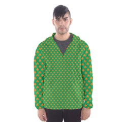 Orange Heart-Shaped Shamrocks on Irish Green St.Patrick s Day Hooded Wind Breaker (Men)