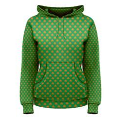 Orange Heart-Shaped Shamrocks on Irish Green St.Patrick s Day Women s Pullover Hoodie