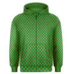Orange Heart-Shaped Shamrocks on Irish Green St.Patrick s Day Men s Zipper Hoodie