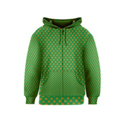 Orange Heart-Shaped Shamrocks on Irish Green St.Patrick s Day Kids  Zipper Hoodie