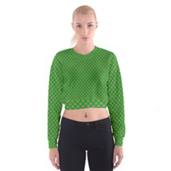 Orange Heart-Shaped Shamrocks on Irish Green St.Patrick s Day Cropped Sweatshirt