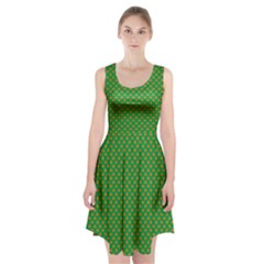 Orange Heart-Shaped Shamrocks on Irish Green St.Patrick s Day Racerback Midi Dress