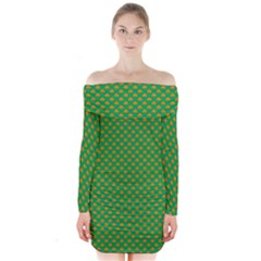 Orange Heart-Shaped Shamrocks on Irish Green St.Patrick s Day Long Sleeve Off Shoulder Dress