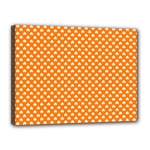 White Heart-Shaped Clover on Orange St. Patrick s Day Canvas 16  x 12