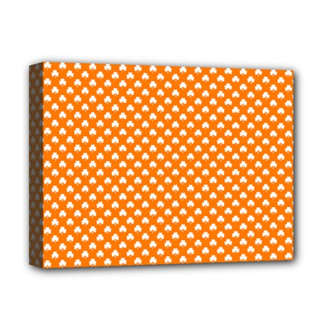 White Heart-Shaped Clover on Orange St. Patrick s Day Deluxe Canvas 16  x 12