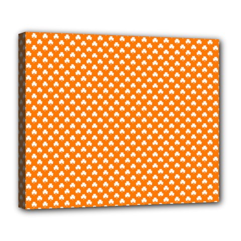 White Heart-Shaped Clover on Orange St. Patrick s Day Deluxe Canvas 24  x 20