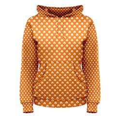 White Heart-Shaped Clover on Orange St. Patrick s Day Women s Pullover Hoodie