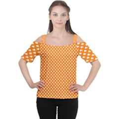 White Heart-Shaped Clover on Orange St. Patrick s Day Women s Cutout Shoulder Tee